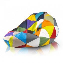 Sedací vak Ecopuf - SAKO barevný trojúhelníky
