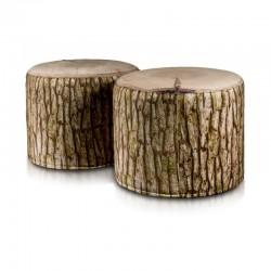 Taburetka ECOPUF - ROLLER - MODERN dřevo plyš DG31