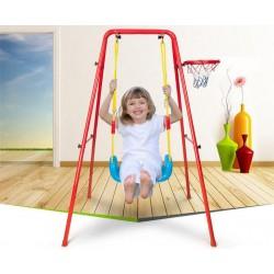 7936 Kovová zahradní hojdačka s basketbalovým košem červená