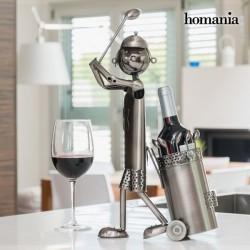Kovový stojan na víno golfista