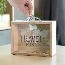 Dřevěná pokladnička kufr TRAVEL