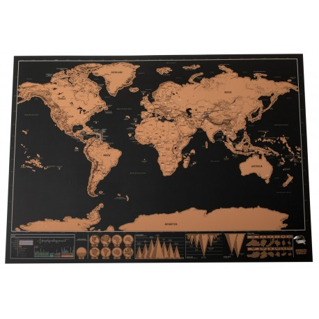 Stírací mapa světa mini DELUXE - 42X 30CM