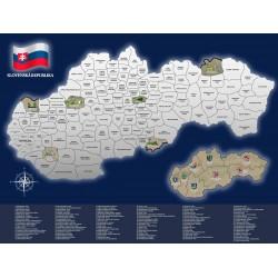 Stírací mapa Slovenské Republiky 80 x 60 cm