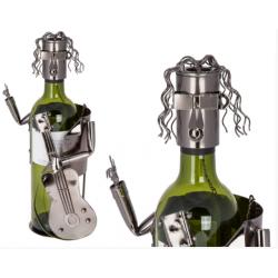 Kovový stojan na víno - kytarista