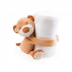 Dětská fleecová deka s medvídkem 100x75 - Bílá