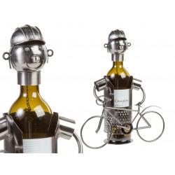 Kovový stojan na víno cyklista