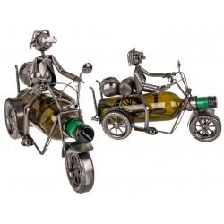 Kovový stojan na víno motorkář 2