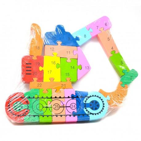 118714 DR Detské dřevěné puzzle jeřáb 3D - 21 dílků