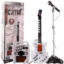 9010 9010 Bezdrátová elektrická kytara s mikrofonem a zesilovačem Bílá