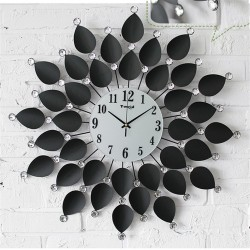 Nástěnné hodiny Black Flower Crystal