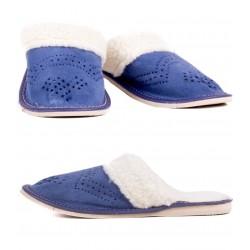 Dámské kožené pantofle - Modrá