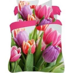 Bavlněné ložní povlečení 3D Tulipány color140x200, 70x80
