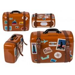 Kasička cestovní kufr s přezkami