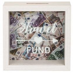 Dřevěná pokladnička - Travel Fund