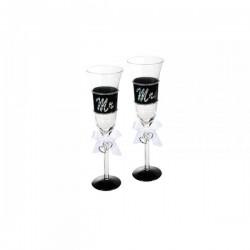 Mr a Mrs skleničky na šampaňské 2ks
