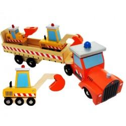 Dřevěný kamion s bagry