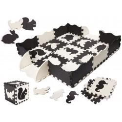 Pěnové puzzle na zem - černo - bílé - 25ks
