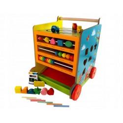 Dřevěný vozík Kostka s tabulí na křídy