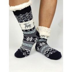 Termo dámské protiskluzové ponožky 20-02 třpytivý Sobík modré