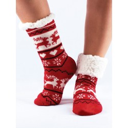 Termo dámske protišmykové ponožky 010 červené srdiečko