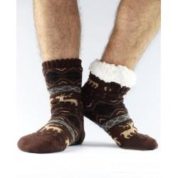 Termo pánské protiskluzové ponožky 12 Sobík hnědé