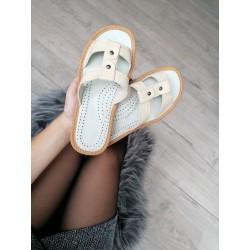 Dámské kožené pantofle - béžové