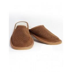 Pánské kožené pantofle - hnědé