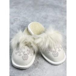 Dámské kožené pantofle - bílé