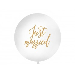 Balón - Just Married, bílý - 100cm