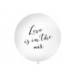 Balón - Love is in the air, bílý - 100cm