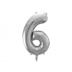 Fóliový balón - Číslo, stříbrný 86cm