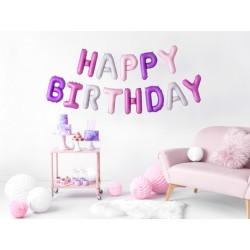 Set fóliových balónů Happy Birthday - Růžový Mix, 340x35cm