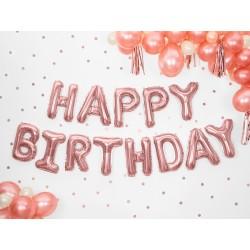 Set fóliových balónů Happy Birthday - Růžový zlato, 340x35cm