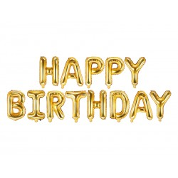 Set fóliových balónů Happy Birthday - Zlatý, 340x35cm