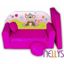 Rozkládací dětská pohovka Opička Nellys na louce