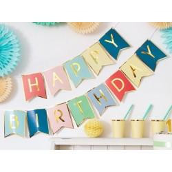 Girlanda - Baner - HAPPY BIRTHDAY, farebný MIX, 15x175cm