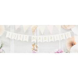 Girlanda - Baner - JUST MARRIED, Bílá se zlatým 15x155cm