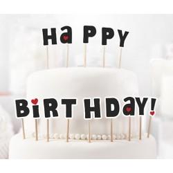 Zápich na dort - Happy Birthday! - černý