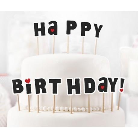 KPM8 Zápich na dort - Happy Birthday! - černý