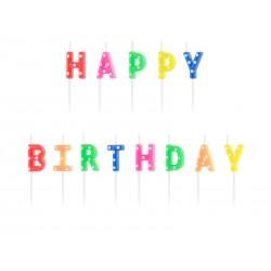 Svíčky na dort - Happy Birthday, barevné 2,5cm