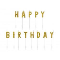 Svíčky na dort - Happy Birthday - zlaté 2,5cm
