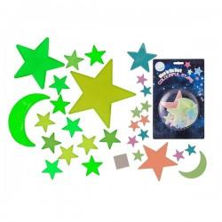 Fluorescenční měsíc a hvězdy universe 15 kusů