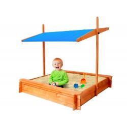 Dětské dřevěné pískoviště s modrou stříškou 120x120 cm