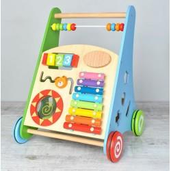 Dětský dřevěný vozík se xylofonem