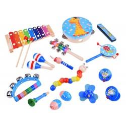 Dětské dřevěné hudební nástroje 16ks