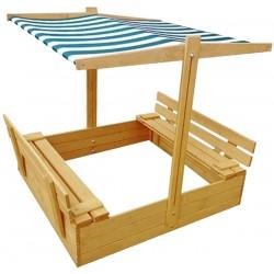 Dětské dřevěné pískoviště s lavičkami 19x119x120CM