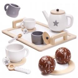 Dětský dřevěný čajový set se sladkým pečivem