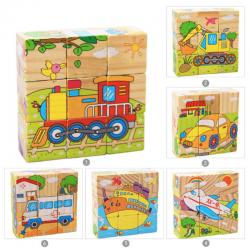 Dětské dřevěné kostky 9 ks - dopravní prostředky 6v1