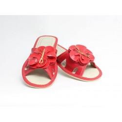 Pantofle dámské kožené -módní 57 červený květ