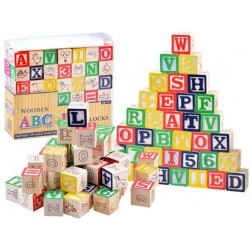 Dřevěné kostky ABC - 50ks